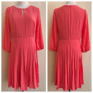 Coral Forever 21 Pleated Dress